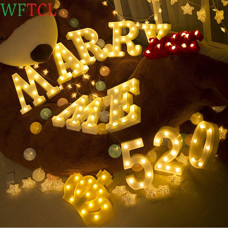 Свет Алфавит Ночник LED знаковое событие сладкий английское слово фары письмо для Юбилей праздник Рождество свадьбу Декор