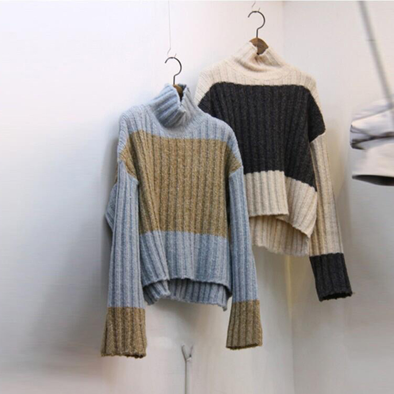 Women 2017 New Autumn Winter Fashion Color Long Sleeve Pullover Sweater Ladies Knit Turtleneck All-match T Tops Sweaters Student