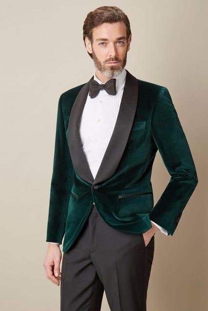Online Shop 2017 Mens Velvet Blazers Custom Made Dark Green Formal ...