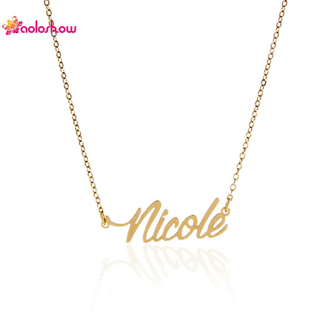 Personalized Necklace Minimalist Gold Color Name Stainless Steel Script Font Nicole Pendant Nameplate Necklace Women Nl 2411