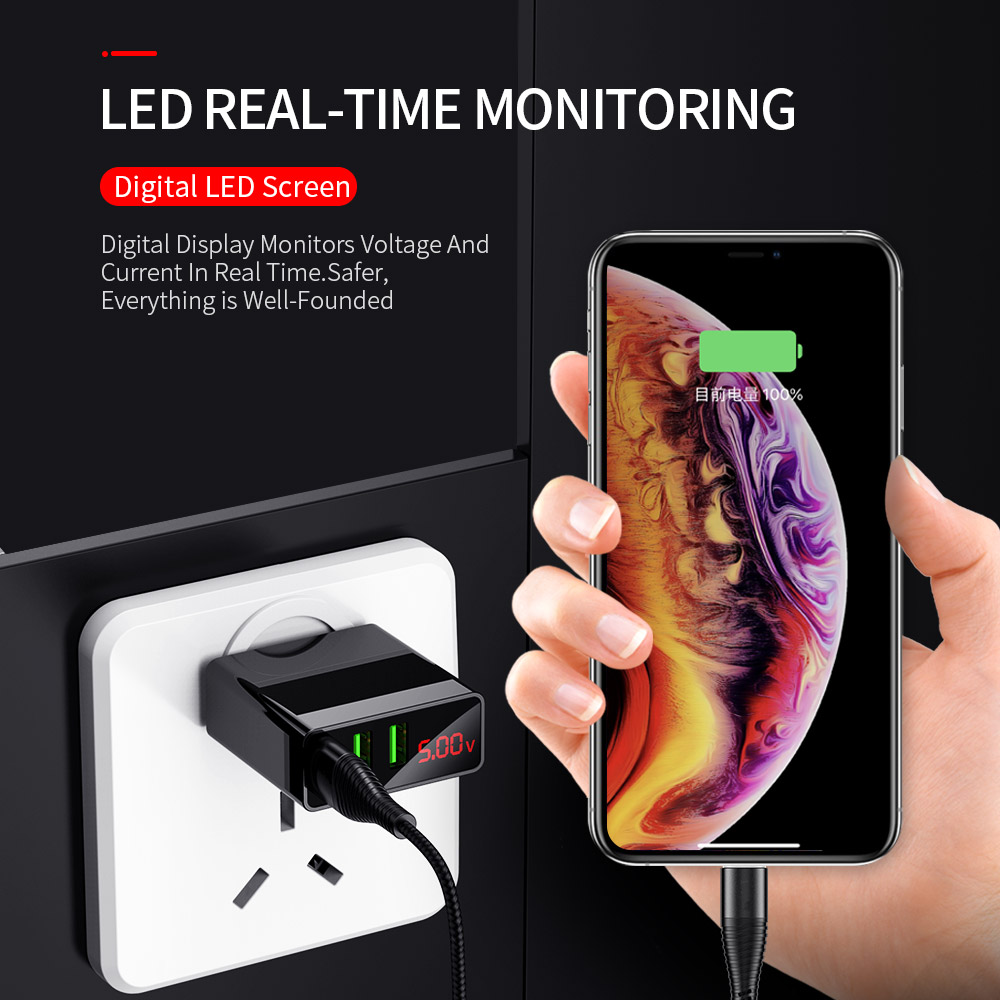 Image 5 - LED Display EU US 3 Port USB Charger 3A Mobile Phone USB Charger Fast Charging Wall Charger For iPhone 6 Samsung Xiaomi LG-in Mobile Phone Chargers from Cellphones & Telecommunications