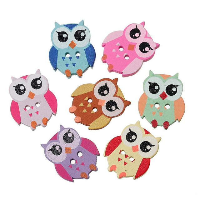 50pcslot Buttons Wood Cute Cartoon Owl Animal Buttons Sewing