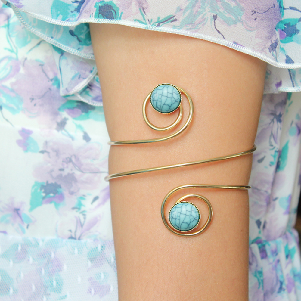 Chic Turkey Blue Stone Stone Spiral Swirl Wrap Arm Cuff Armlet Armband Style Bangle ձեռնաշղթա զարդեր Նոր