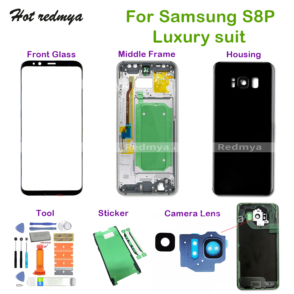 Back housing For Samsung Galaxy S8 Plus G955 Middle Frame+Rear Battery Back Cover Housing+Front Glass+Camera Lens+Full Set ToolsBack housing For Samsung Galaxy S8 Plus G955 Middle Frame+Rear Battery Back Cover Housing+Front Glass+Camera Lens+Full Set Tools