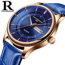 באיכות גבוהה רוז זהב חיוג שעון גברים עור עמיד למים 30 m שעונים עסקי אופנה יפן קוורץ תנועה אוטומטי תאריך זכר שעון