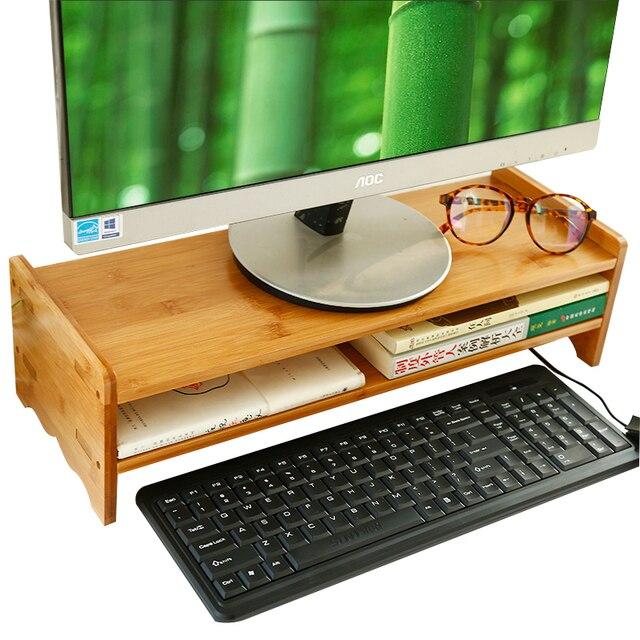 Natural Bamboo Wood Desk Organizing Computer Monitor Riser