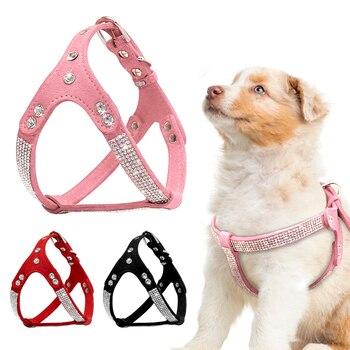 부드러운 스웨이드 가죽 강아지 강아지 하네스 라인 석 애완 동물 고양이 조끼 mascotas cachorro 작은 중형 개를위한 하네스 chihuahua pink