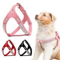 Couro de camurça macia filhote de cachorro cachorro arnês strass pet cat vest maschas cachorro arnês para pequenos cães médios chihuahua rosa