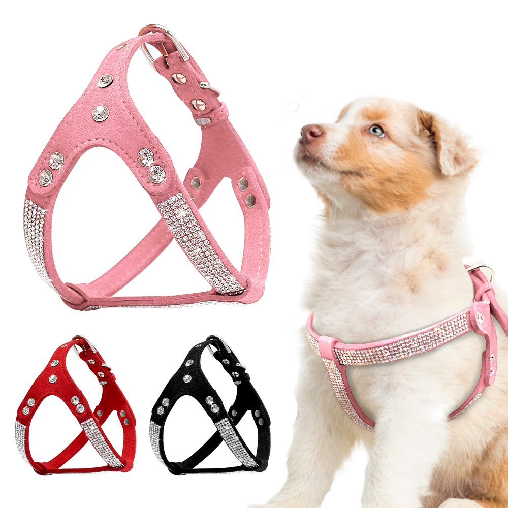 Soft Suede Leather Puppy Dog Harness Rhinestone Pet Cat Vest Mascotas Cachorro Harnesses For Small Medium Dogs Chihuahua Pink