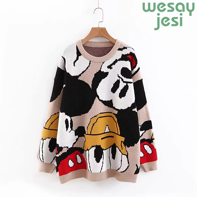 2019 Winter Sweater Clothing Women Vintage Soft Mickey Cartoon Jacquard Weave O-neck Pullovers Femme Hiver Plus Size Casual