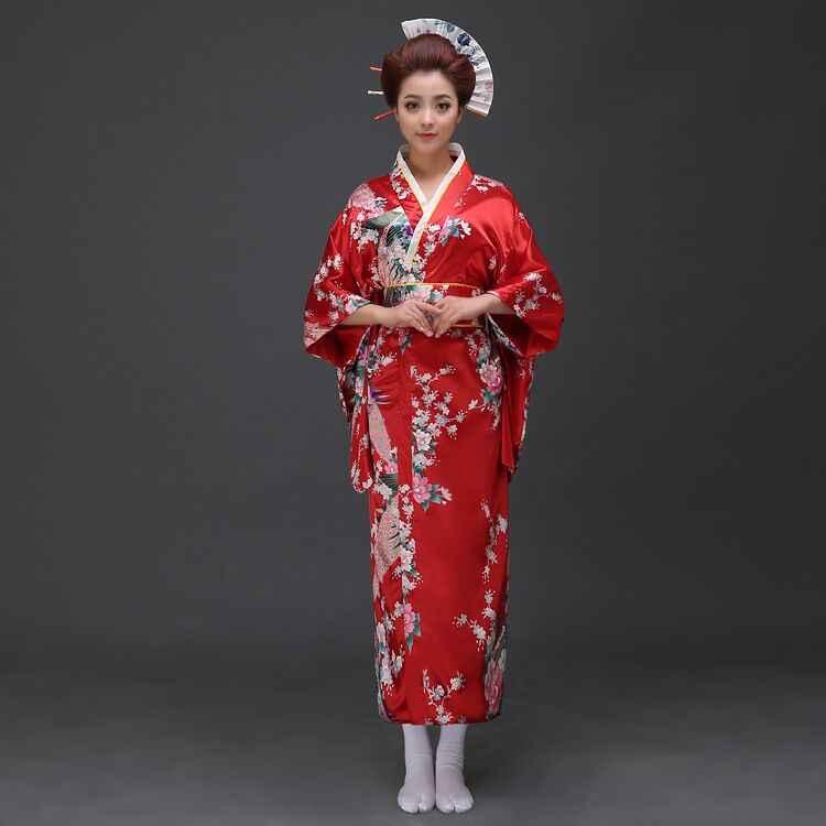 Vermelho do vintage japonês senhoras quimono vestido de banho feminino falso seda yukata com obi desempenho dança vestido cosplay roupas h0029