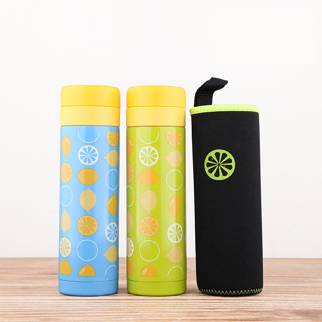 Small Lemon Stainless Steel Vacuum Insulated Thermos With Bag Thermal Water Bottle Coffee Travel