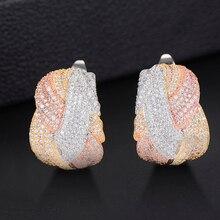 Godki 25mm 럭셔리 트위스트 꼰 크로스 라인 여성을위한 다채로운 전체 mirco 입방 지르콘 스터드 귀걸이 웨딩 두바이 골드 귀걸이