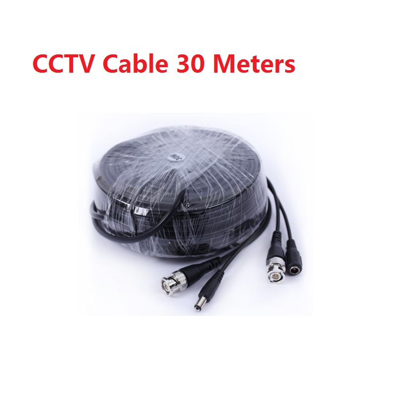ФОТО New Black Color 30m(100ft) Long BNC Power Video CCTV Cable for Security System CCTV Accessories DC+VIDEO