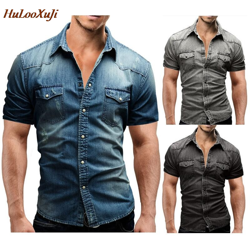 HuLooXuJi Men Denim Shirt Summer Beach Style Short Sleeve Washed Shirt Cotton Breathable Cargo Jeans Shirts US Size:M-3XL