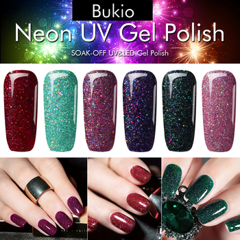 Bukio Neon Gel Polish Emerald Green Color Nail Art Semi Permanent Gel Varnish Primer for Nails Manicure Uv Lamp Gel Nail Polish