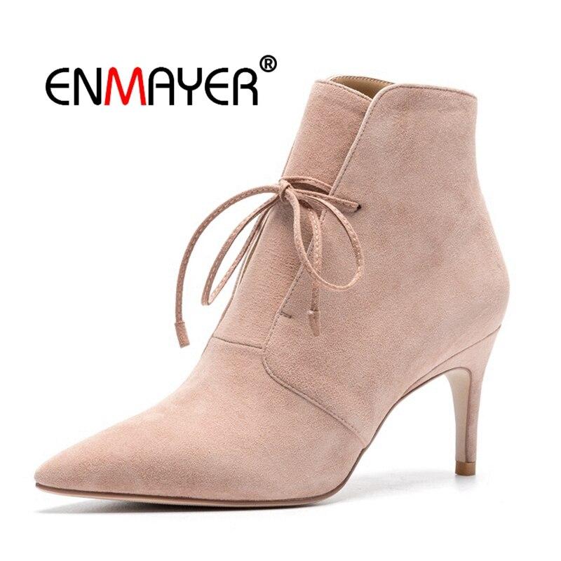 Zapatos Black Delgada Mujeres pink De Botas Mujer Gamuza 39 Enmayer Tobillo Chico 34 Cr1730 Punta Tacones Invierno Causal Tamaño RtqwgW1Wn
