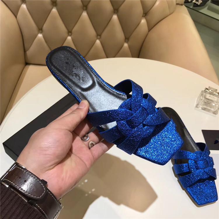 Glitter Woman Slipper Leather Shoes Woman Good Quality Hot Brand Super Star Runway Summer Beach Women Flats Cool Woman Slides super slipper taipei