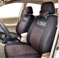 Frente 2 tampas de assento para Lada priora Largus Granta kalina niva algodão de seda mista cinza preto bege tampas de assento do carro do bordado do logotipo
