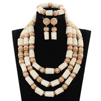 White Coral Beads Necklace Designs Nigerian Wedding African Beads Jewelry Set Original Coral Statement Jewellery Set