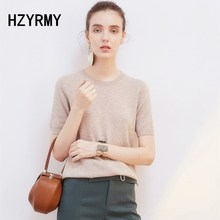 HZYRMY Spring Summer New Womens Wool knit half-sleeve bottoming shirt O-collar Solid color Loose Fashion soft Cashmere pullover
