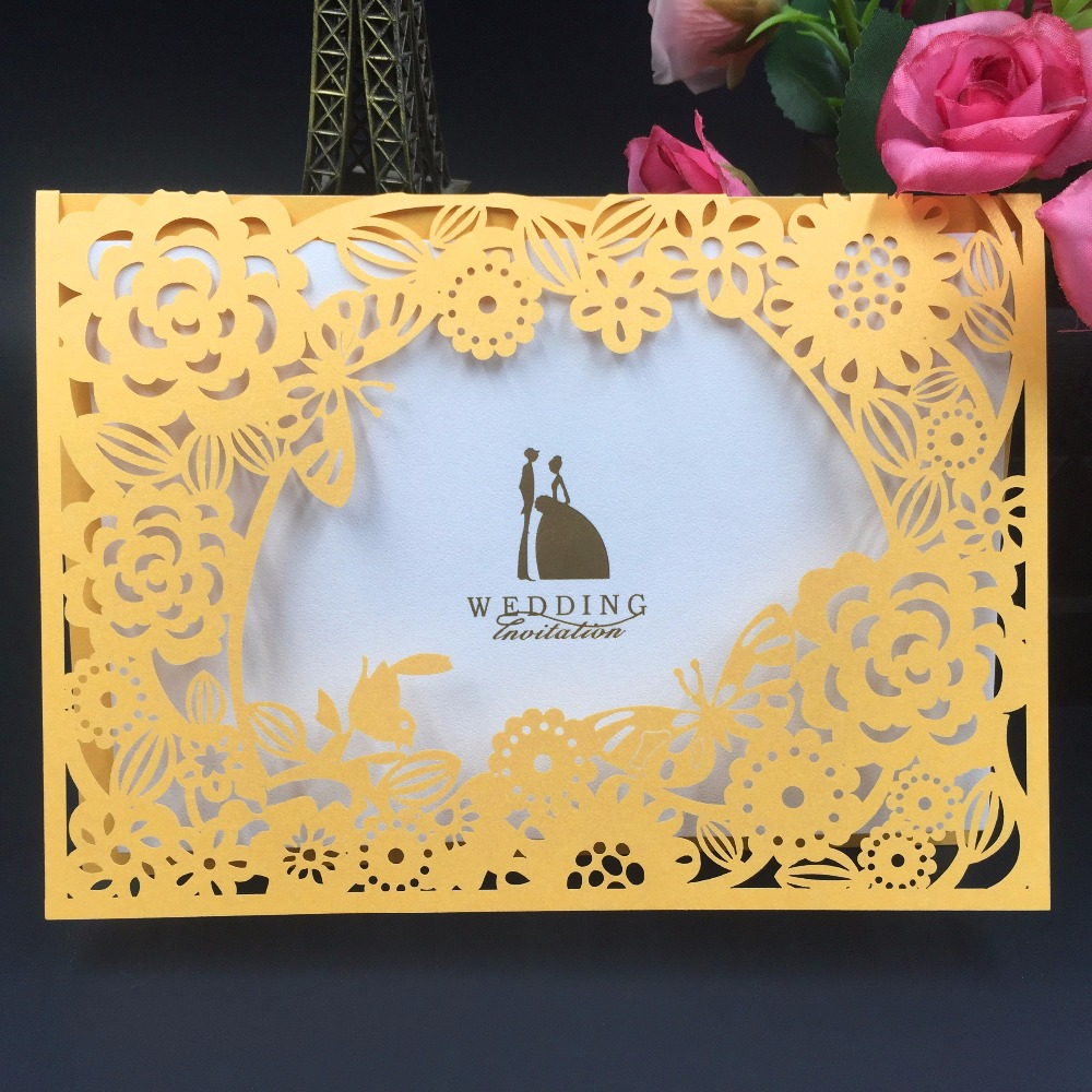 50Pcs Printable Laser Cut Wedding Invitations Card Mariage/Birthday/Greeting/Business/Adult Ceremony/Christmas Party Decoration
