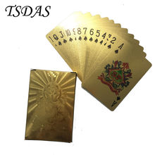 High Quality Business Gift 24K Gold Foil Playing Card With India' God Style, Double Sides Poker Card 54pcs/set(China)