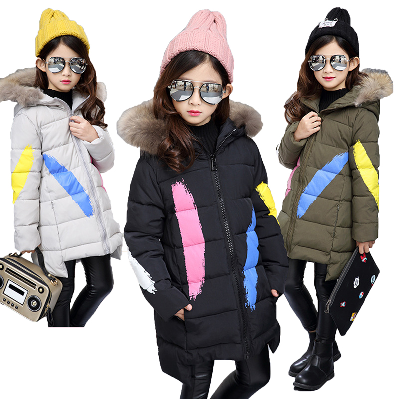 Children Girls Jackets 2018 Winter Teenage Girls Faux Fur Hooded Thick Warm Parka Down Coat Kids Clothes Cotton Coat OutwearsChildren Girls Jackets 2018 Winter Teenage Girls Faux Fur Hooded Thick Warm Parka Down Coat Kids Clothes Cotton Coat Outwears