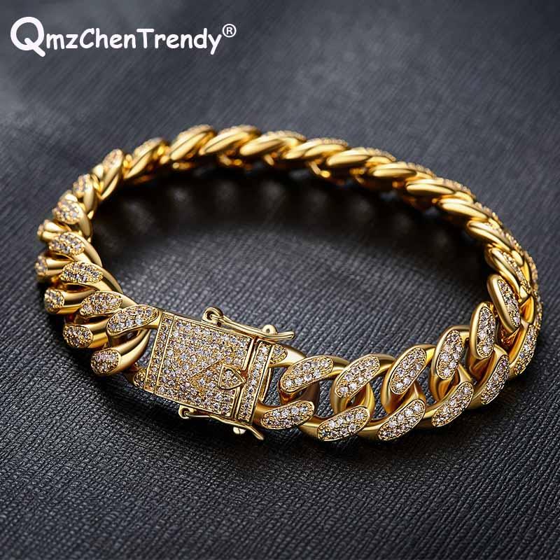 Hip hop hommes femmes Micro zircon cubique CZ Miami chaîne cubaine Bracelets Cuba Triple serrure fermoir cuivre matériel Bracelet bijoux