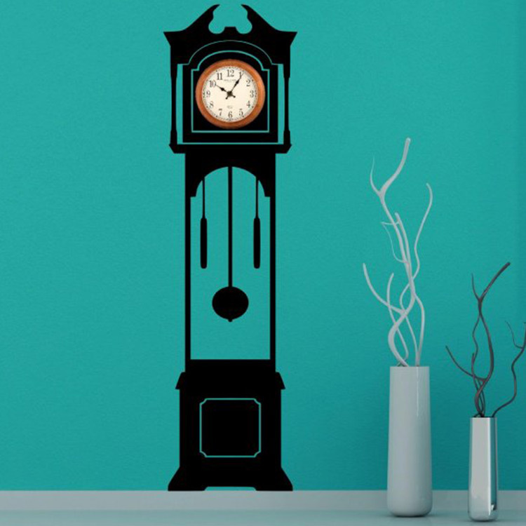 NEW Grandfather Clock Silhouette Wall Decal Clock Background Vinyl Wall Sticker 50x180cm