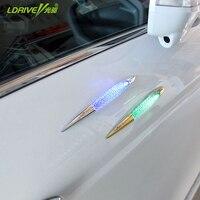 Car Styling Solar Energy 12v LED Car Magnetic Sticker Fog Warning Lights Taillights White Shark Gills