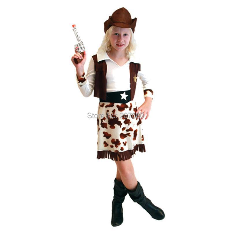 Party Cosplay Costume Cowgirl dress Costumes Fancy dress Vaquera ropa de juego vestido For Kids
