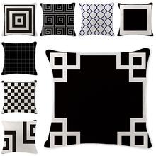 Prosta czarno-biała geometryczna poduszka pokrywa dekoracyjne poszewki na poduszki Vintage poduszka dekoracyjna pokrywa dla akcesoriów Sofa tanie tanio Pumelo Tree CN (pochodzenie) PRINTED Other HANDMADE GEOMETRIC Plac DEKORACYJNY Seat Chair SAMOCHÓD 100 poliester Decorative Cushion Cover