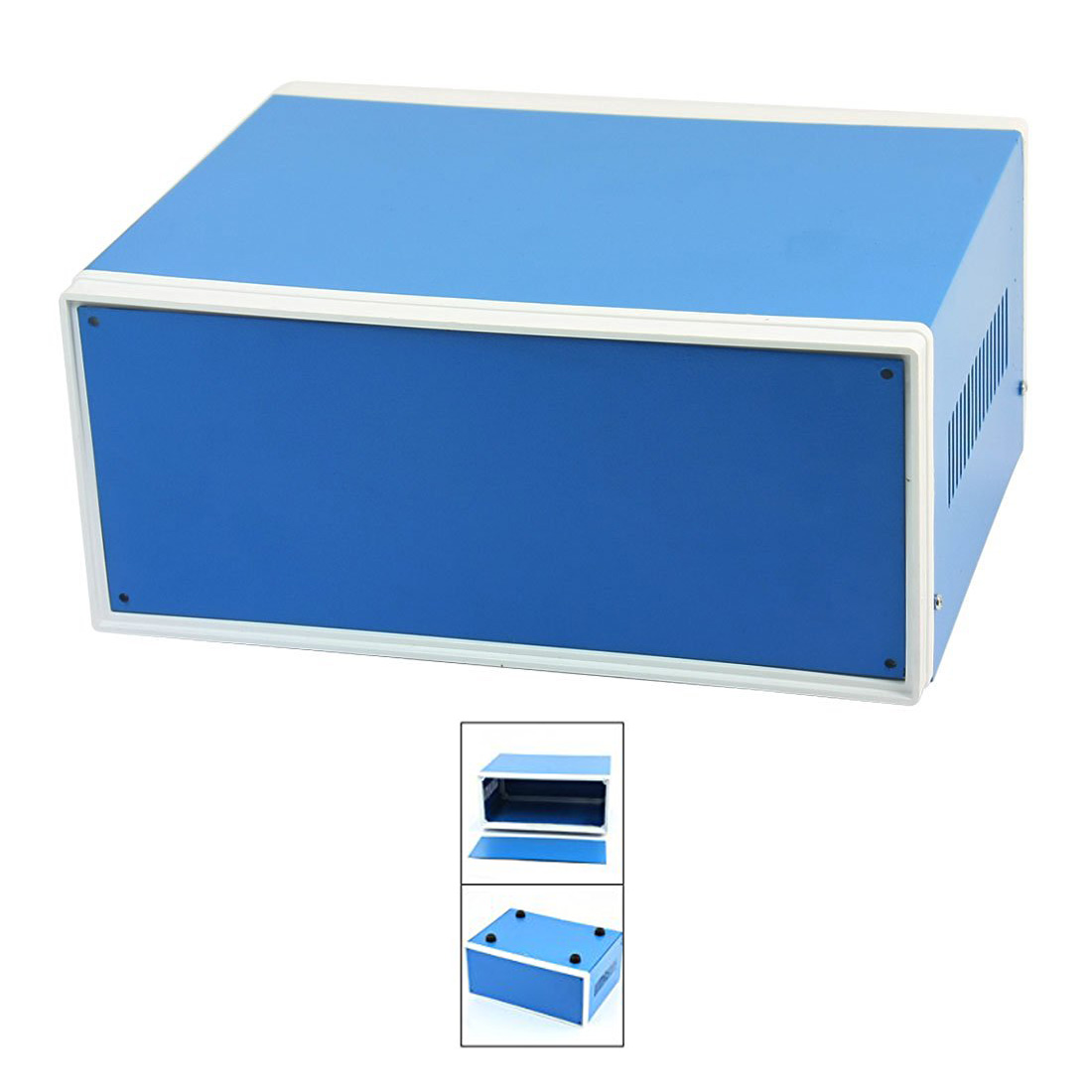 цена на HHTL-9.8 x 7.5 x 4.3 Blue Metal Enclosure Project Case DIY Junction Box