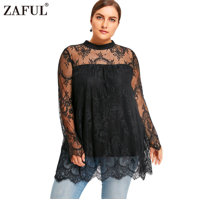 2f97c724cb7 ZAFUL Plus Size 5XL Women Lace Blouse Sexy Black Color Long Sleeves See  Through Beach Feminino Smock Blusas Mock Neck Shirts New