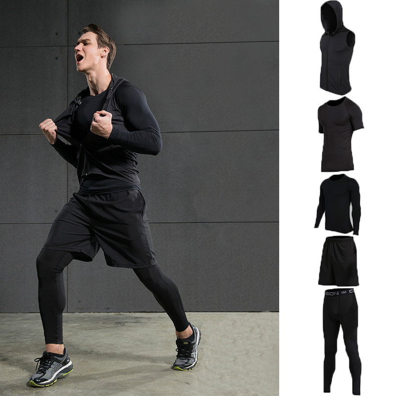 Newest Compression Short Sleeve T Shirt Pants Tights Tracksuit Male Fitness Wicking Gym Training Running Set Men Sport Suits  17 18 newest hulk bike jerseysman batman compression base layer tights men thermal long sleeve tee shirts sports jerseys fitness