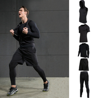Fitness Suit Men S Suit Four Sets Of Sports Long Sleeved Fast Drying Clothes Basketball Trousers