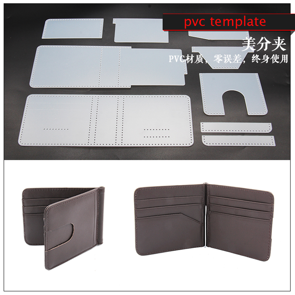 DIY Leather Craft Card Holder Money Clip Wallet Die Cutting Pvc Template Sewing Pattern