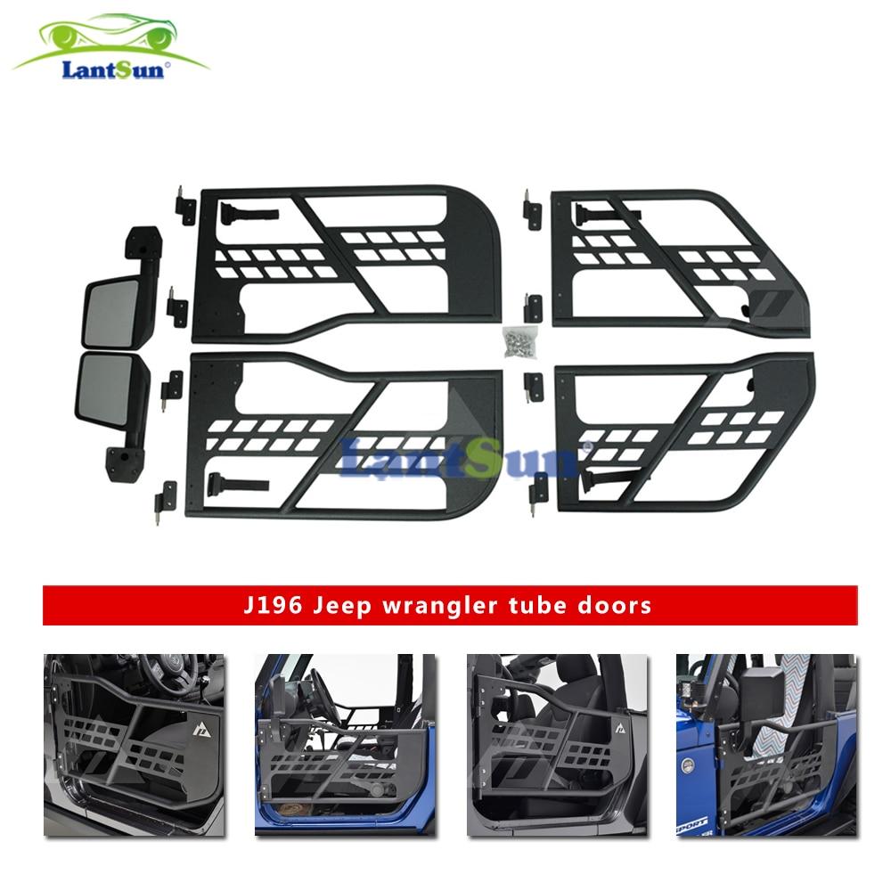 Um conjunto de aço preto meia porta do tubo com espelho lateral para jeep wrangler jk 07-15 4 portas produtos de automóvel lantsun