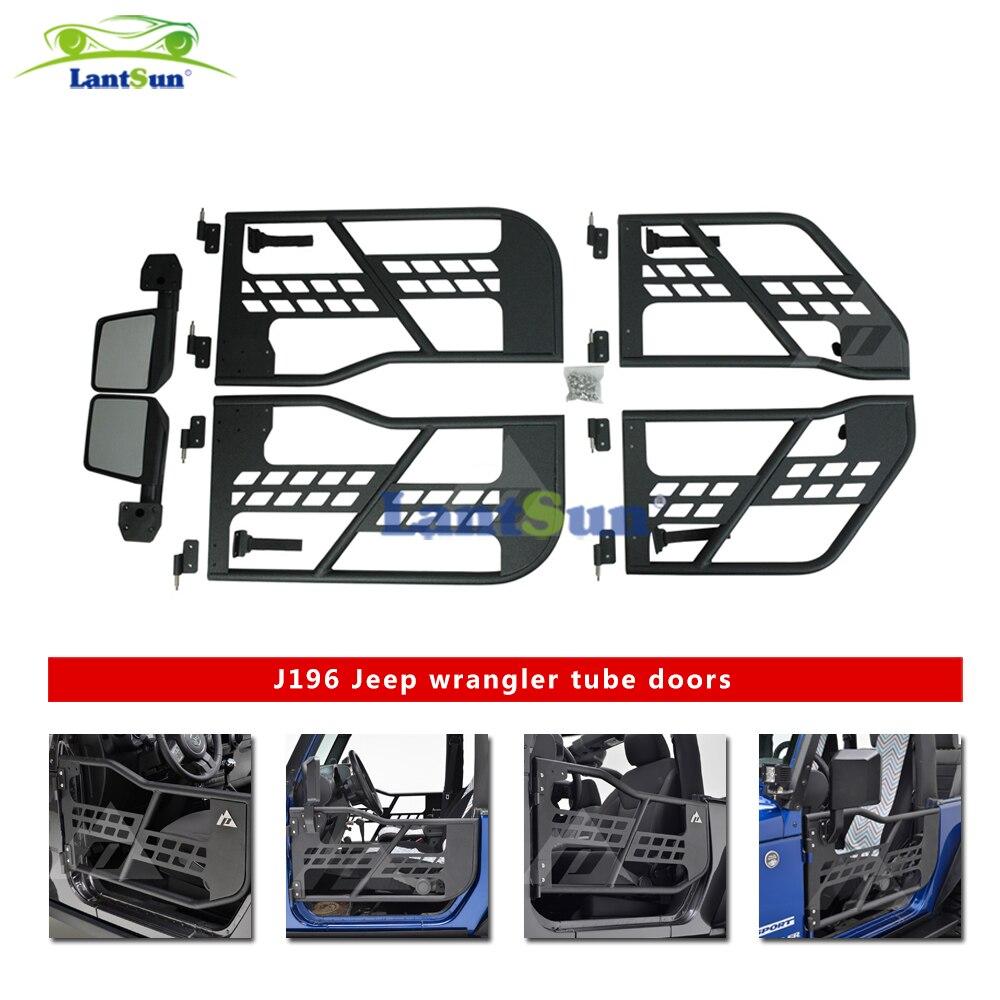 Un demi-tube en acier noir avec miroir latéral pour jeep wrangler jk 07-15 4 portes auto produits Lantsun