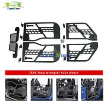 Один комплект черная стальная полутрубка двери с боковым зеркалом для jeep wrangler jk 07-15 4 двери авто продукты Lantsun