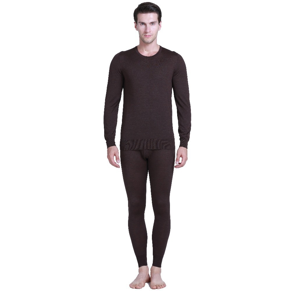 85% Silk 15% Cashmere Knit Men Thermal Sheer Long Johns Set Solid Size S M L