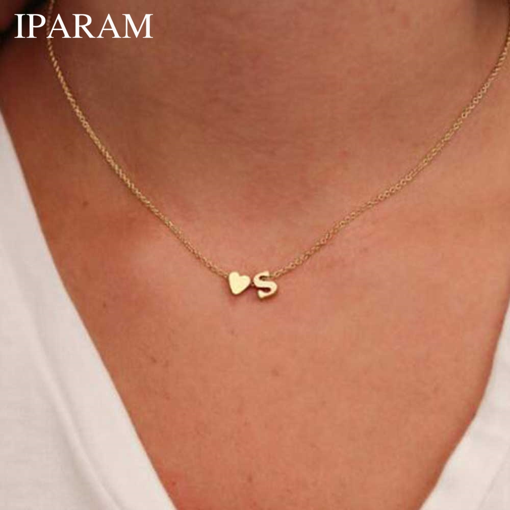 IPARAM Fashion Personalized love heart Letter Alphabet Pendant Necklace Initial Necklaces Charms For Women Mini Jewelry Chain