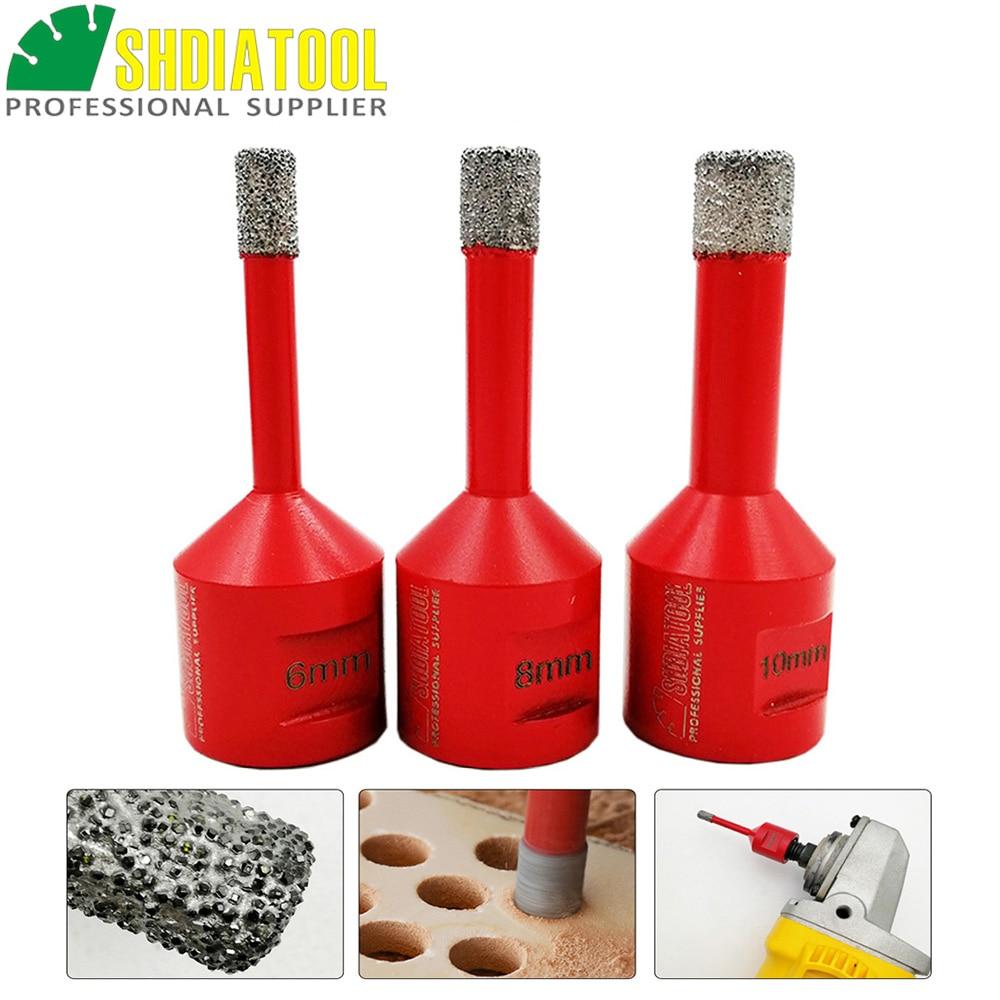 SHDIATOOL 3pcs/set 6+8+10mm M14 Vacuum Brazed Diamond Drilling Core Bits Dry Drilling Bits Hole Saw Diamond Drill Bit Stone