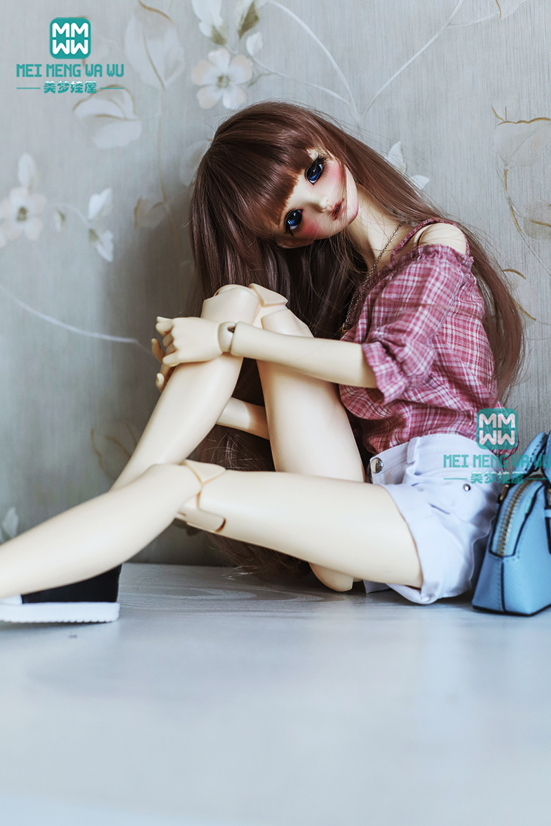 BJD Doll Clothes For 1/3 BJD Doll Fashion Pink Plaid Shirt + White Shorts