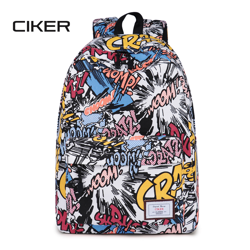 CIKER New Women Canvas Printing Backpack Fashion Shoulder Bag Casual Schoolbags Mochila Men's Backpacks Graffiti Unisex Rucksack