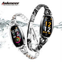 ASKMEER H8 Fitness Bracelet Women Waterproof Smart Watch Blood Pressure Monitor Smartband Health Bracelet Sports smart Band Lady
