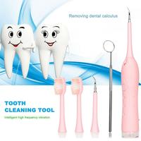 1 Set Tooth Washing Cleaner Pink And Blue Tartar Remover Dental Care Tool Electric Teething Device