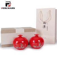 Chinese Vintage Tieguanyin Longjing Puer Teaware Tea Cans Ceramic Seal Storage Jar Home Decorations Gift Box Coffee Canister