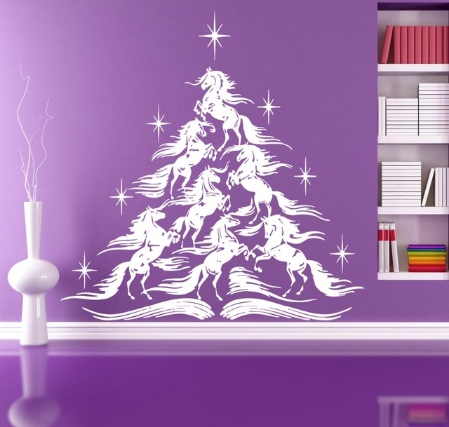 Fairy Tale Christmas Tree Wall Decals 7 White Fabulous Horse Kids Room  Children Stylish Wall Art
